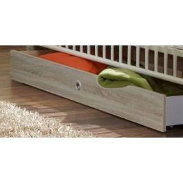 Kimba - Úložná zásuvka k detskej postieľke (biela, dub)
