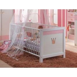 Cinderella - Detská postieľka (biela, růžová)