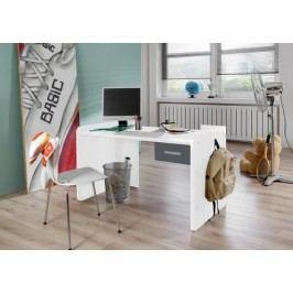 Joker - Pracovný stôl so zásuvkou (biela, antracit)