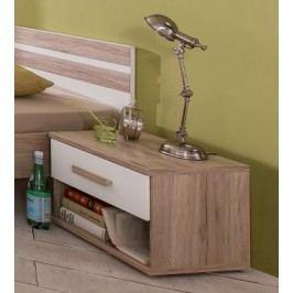 Cariba - Nočný stolík (san remo dub, biela)