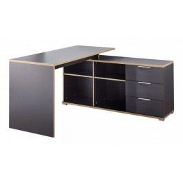 Office - Stôl so skrinkou a zásuvkami (antracit)