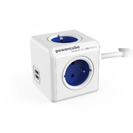 Napájací adaptér PowerCube Extended 4 zásuvky, 2x USB blue, 1,5m