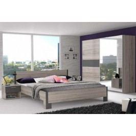 Adria 1 - Spálňa, posteľ 180 (sivá matná/dub pieskový)