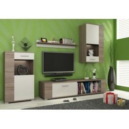Foxy - Obývacia stena, LED (dub trufel/biela, dub trufel)