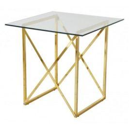 Cross - Konferenčný stolík, štvorec (lesklé sklo, mosadzné nohy)
