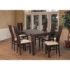 Set 1 - 6x stolička,stôl,rozkladací (orech tmavý/nubuk 111W/buk)