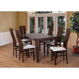 Set 1 - 6x stolička,stôl,rozkladací (orech tmavý/madryt 120/buk)