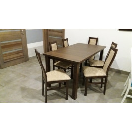 Aga - Set 6x stolička, 1x stôl + rozklad (wenge/madryt 126)