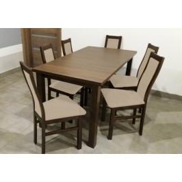 Jedálenský set AGA - 6x stolička, 1x rozkladací stôl (wenge/látka)