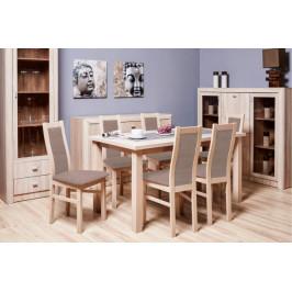 Jedálenský set AGA - 6x stolička, 1x rozkladací stôl (sonoma/látka)