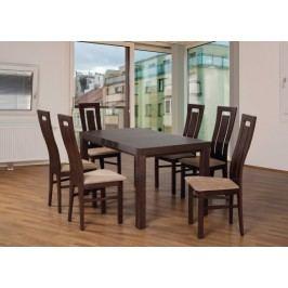 Set 4 - 6x stolička,1x stôl,rozklad (orech tmavý/nubuk 126W/buk)