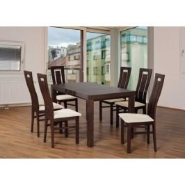Set 4 - 6x stolička,1x stôl,rozklad (orech tmavý/nubuk 111W/buk)