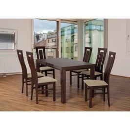 Set 4 - 6x stolička,1x stôl,rozklad (orech tmavý/laná 22/buk)