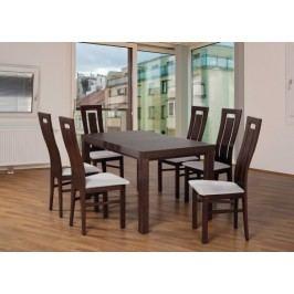 Set 4 - 6x stolička,1x stôl,rozklad (orech tmavý/madryt 120/buk)