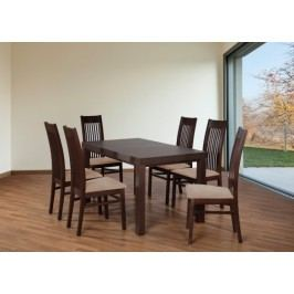 Set 6 - 6x stolička,1x stôl,rozklad (orech tmavý/nubuk 126W/buk)