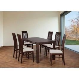 Set 6 - 6x stolička,1x stôl,rozklad (orech tmavý/nubuk 111W/buk)