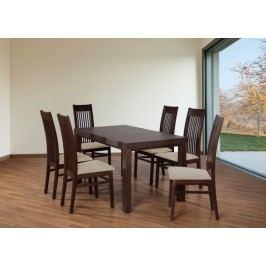 Set 6 - 6x stolička,1x stôl,rozklad (orech tmavý/laná 22/buk)