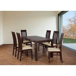 Set 6 - 6x stolička,1x stôl,rozklad (orech tmavý/madryt 111/buk)