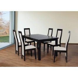 Set 24 - 6x stolička,1x stôl,rozklad (wenge/dub sonoma/lana 21)