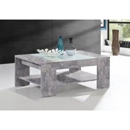 Brady - Konferenčný stolík (beton, biele sklo)