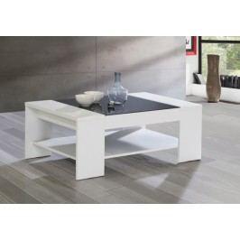 Brady - Konferenčný stolík (biela/čierne sklo)