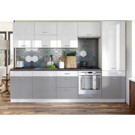 Kuchynská linka Manhattan 300 cm (biela lesk/sivá lesk)