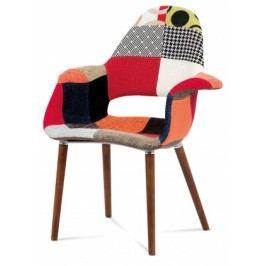 Lis - Jedálenská stolička s podrúčkami (patchwork/orech)