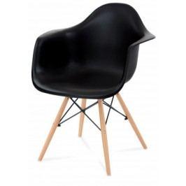 Lisa - Jedálenská stolička s podrúčkami (plast čierny/masív buk)