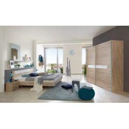 Pamela - Komplet posteľ 180,skříň 225cm,stolíky (dub,sklo,chrom)