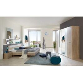 Pamela - Komplet posteľ 180,skříň klasik,stolíky(dub,sklo,chrom)