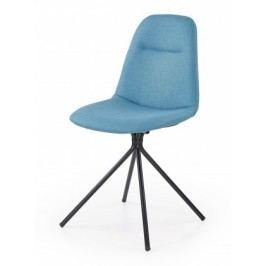 K240 - Jedálenská stolička, modrá (ocel, látka)