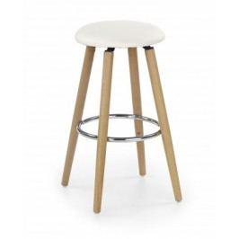 H-76 - Barová stolička, masivné bukové drevo, béžová