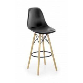 H-51 - Barová stolička, masivné drevo, čierná