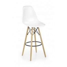 H-51 - Barová stolička, masivné drevo, bielá