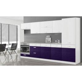 Manhattan - Kuchynský blok 300 cm (biela/fialová lesk)