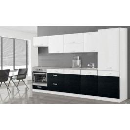 Manhattan - Kuchynský blok 300 cm (biela/čierna lesk)