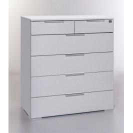 LevelUp D - Komoda, 6x zásuvka (biela VL, biela)