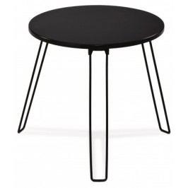 Mat - Prístavný stolík guľatý (čierna, kov)