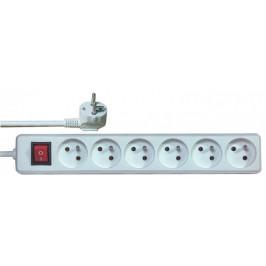 Predlžovací prívod s vypínačom 6 zásuviek 3m