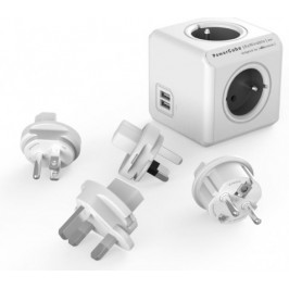 PowerCube REWIRABLE USB + Travel Plugs rozbočka 4 zásuvka