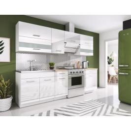 Kuchyňa Rio - 240 cm (biela vysoký lesk)