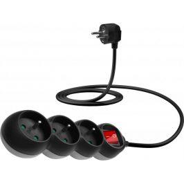 Connect IT Predlžovací kábel 230 V, 3 zásuvky, 1,5 m, s vypínačom (čierny)