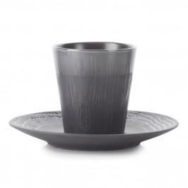 REVOL Hrnček na espresso 8 cl s podšálkou grafitový Arborescence