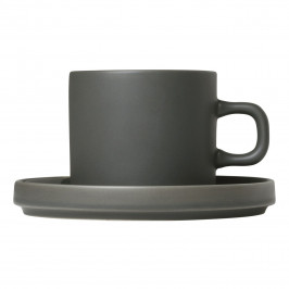 Blomus Súprava 2 hrnčekov na kávu s tanierikmi MIO kaki 0,2 l
