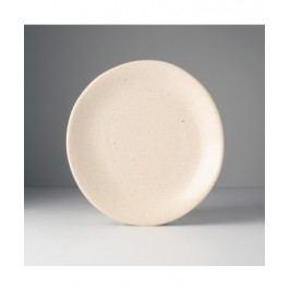 Guľatý tanier s nepravidelným okrajom pieskový 24x25cm