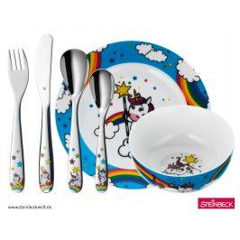 Detský jedálny set Unicorn WMF modrý 6 ks