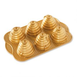Forma na 6 včelých úľov Beehive Nordic Ware zlatá 6 x 120 ml