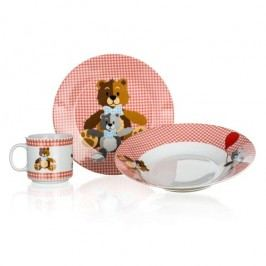 Detský jedálny set Medvedík Banquet červená 3 ks