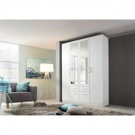 Sconto Šatníková skriňa BAYLEE alpská biela, 4-dverová s 2 zrkadlami