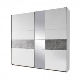 Sconto Šatníková skriňa CADENCE biela/sivá, šírka 218 cm